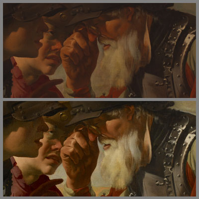 Detail of soldiers, before (top) and after conservation (bottom).