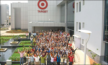 Employees of Target's India operation pose in front of the Bangalore headquarters.