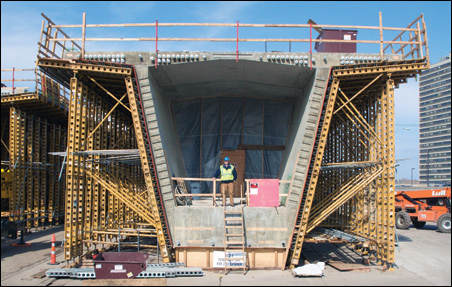 A pre-cast concrete segment of the new bridge.