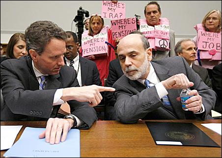 U.S. Treasury Secretary Timothy Geithner, Federal Reserve Chairman Ben Bernanke
