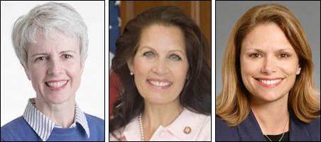 Dr. Maureen Reed, Rep. Michele Bachmann and state Sen. Tarryl Clark