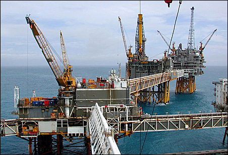Drilling in the North Sea: The Ekofisk oil and gas field development complex is 200 miles from Norway, the British Isles and Germany.