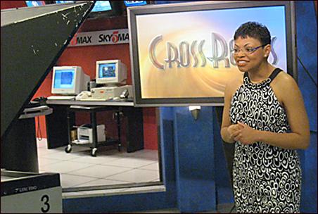 "Sheletta Brundidge on the set of ""Crossroads."""