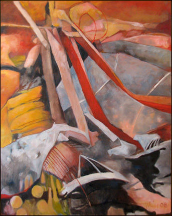 """Barbara Thill Anderson's """"Bridge Collapse"""" won second place in oil/acrylic/mixed media in the 97th Fine Arts Exhibition."""