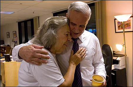 Mark Dayton is congratulated by supporter Carol Kough, whose husband was the mayor of Austin during the Hormel Strike of 1985.
