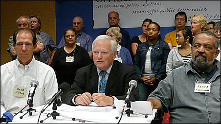 Representatives of the Citizens Jury unveiled their recommendations Saturday. From the left are Brad Riebel, former state Sen. John Hottinger (the jury's lead consultant) and Ernest Swinson.