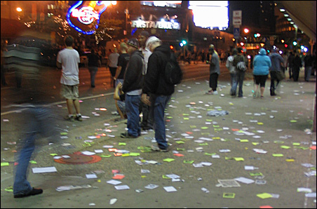 The scene outside Target Center after the crowd dispersed Wednesday night.