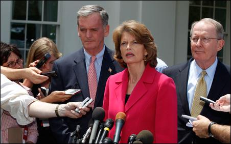 Left to right: Sen. Judd Gregg, Sen. Lisa Murkowski and Sen. Lamar Alexander talk with reporters after meeting with President Barack Obama back in June.