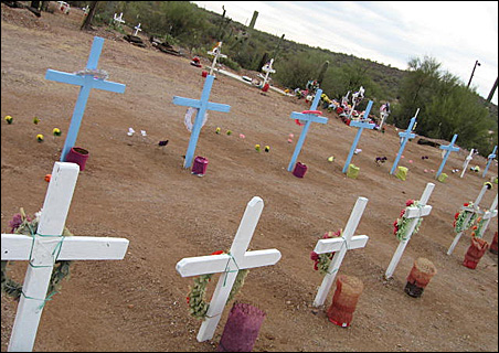 Crosses in Arizona mark the graves of Mexicans who died trying to reach America.