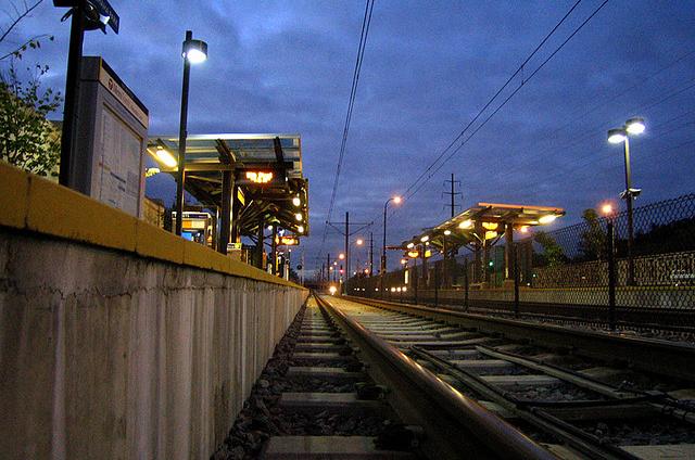 photo of a light rail train station