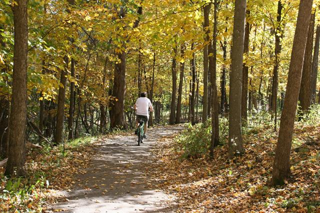 Biking through River Bend Nature Center.