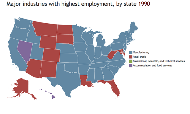 map of top employment sectors by state in 1990
