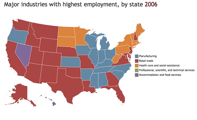 map of top employment sectors by state in 2006