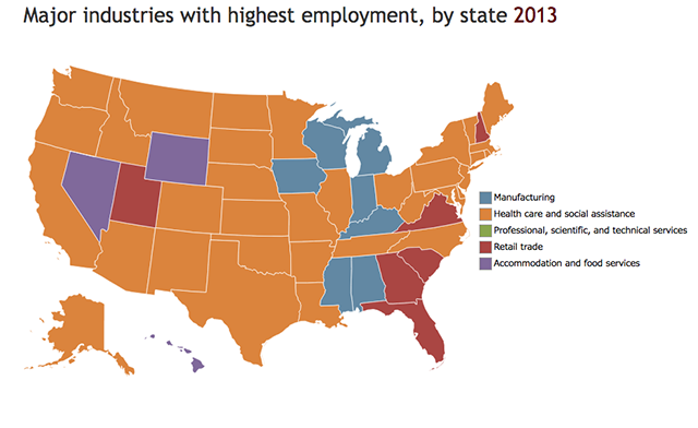 map of top employment sectors by state in 2016