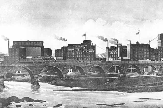 historic photo of factories in minneapolis