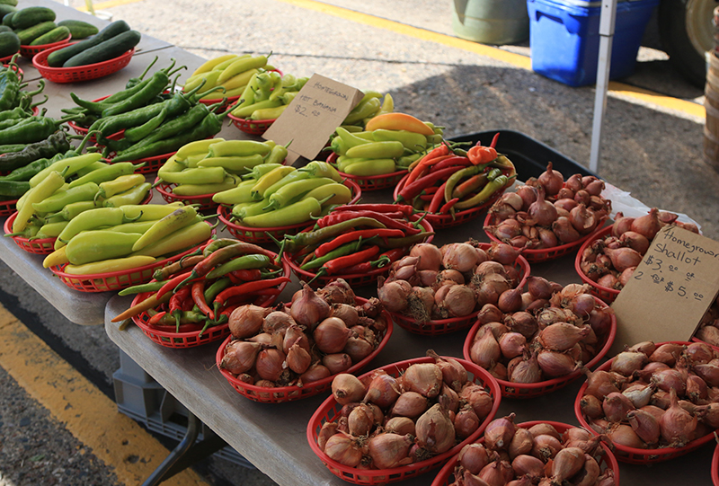 chiles and shallots in baskets for sale at farmers market