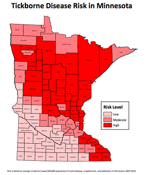 map showing lyme disease risk by county in Minnesota