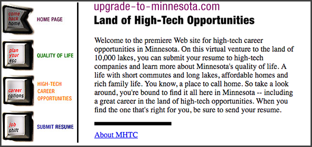 screenshot of website marketing mn to tech workers