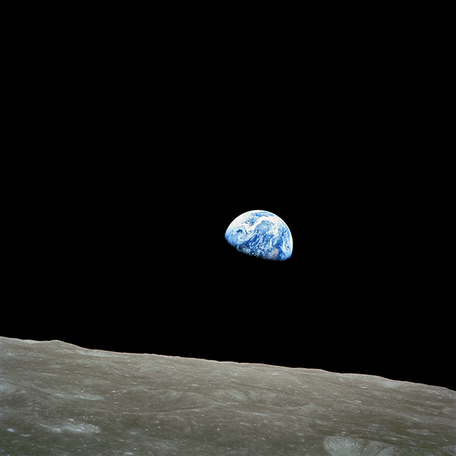 """""""Earthrise,"""" view from Apollo 8, Dec. 29, 1968"""