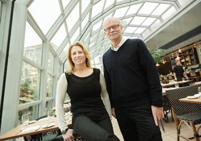 David Shea & Tanya Spaulding under the retractable roof at Union, their latest r