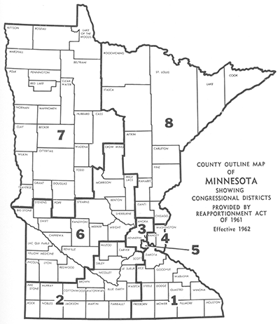 A map of Minnesota's eight congressional districts in 1961.