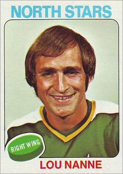 1975-76 Topps card of Lou Nanne