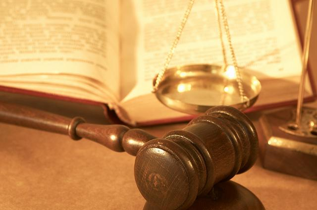 gavel, scales, book