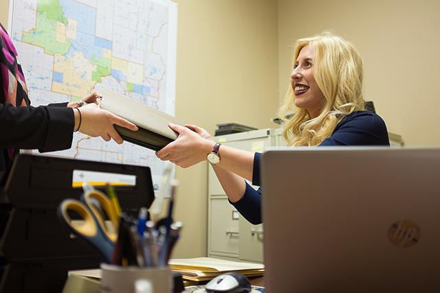 Abby Rime does casework for Sixth District Rep. Tom Emmer.