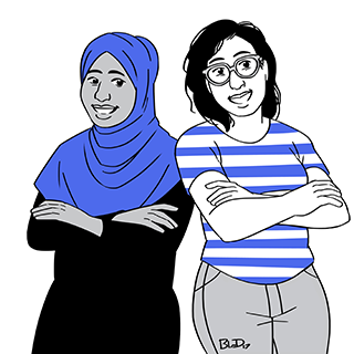 A number of campaign materials featured this illustration of Ahmed and Bouchard