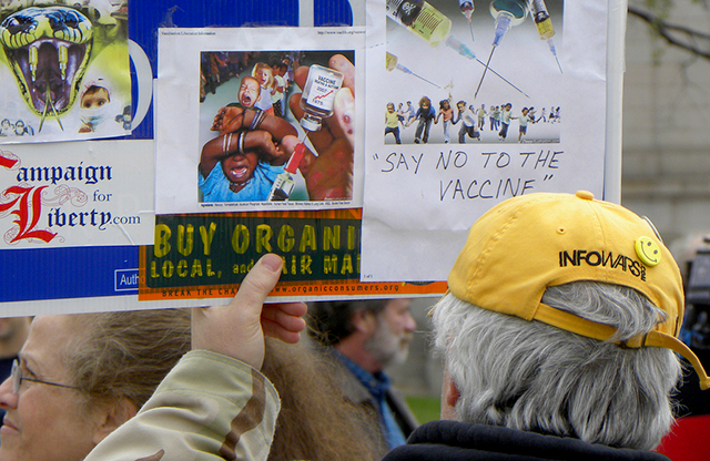 Anti-vaccination theorist at a 2010 Tea Party Express rally in St. Paul.