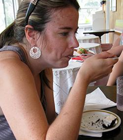 Becky Talle eats a piece of Elvis Peanut Butter Pie at Whalan's Aroma Pie Shop.