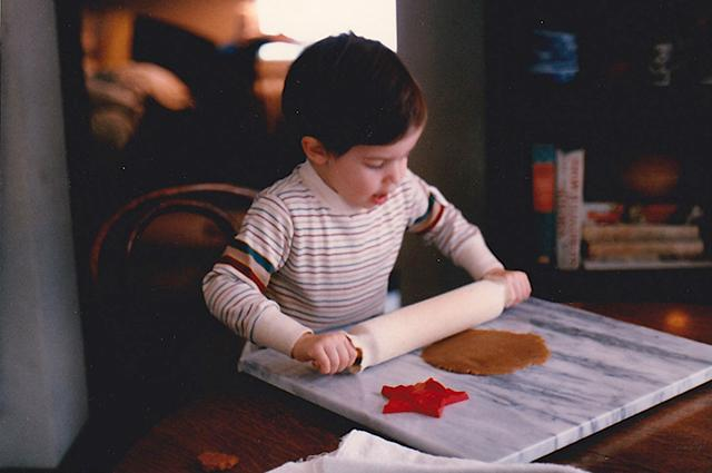 The Beddows' son, rolling out cookie dough circa 1985.