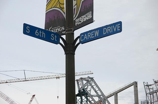 The older Carew Drive near the construction site of the new Vikings stadium.