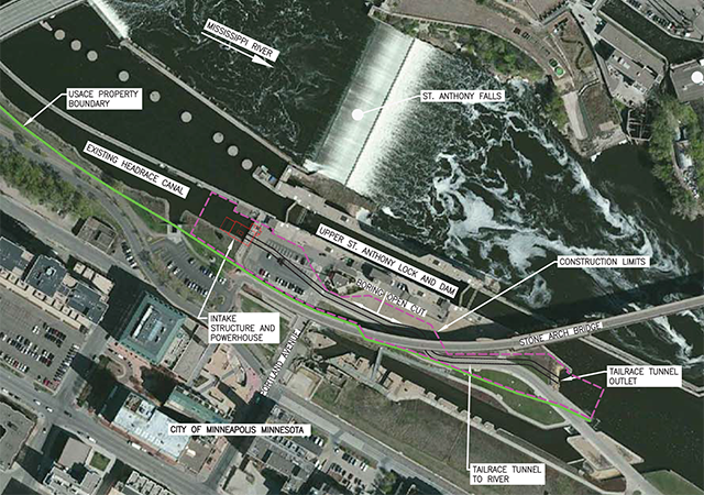 Proposed site of the hydroelectric facility at St. Anthony Falls.