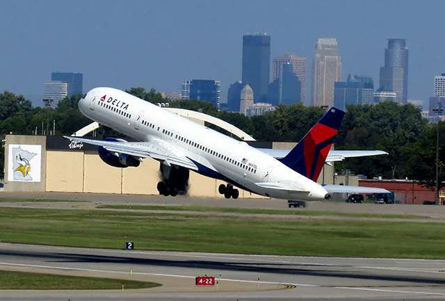 A Delta Air Lines flight taking off from MSP International Airport