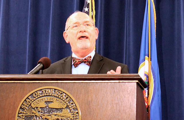 Health Commissioner Ed Ehlinger speaking during Thursday's press conference.