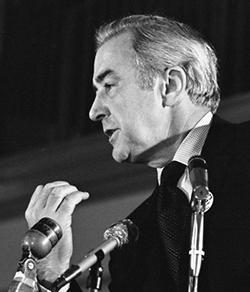 Sen. Eugene McCarthy speaking at St. John's University in 1968.