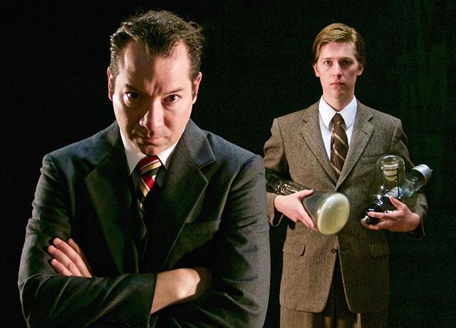 Mark L. Mattison as David Sarnoff and Pierce Huxtable as Philo T. Farnsworth