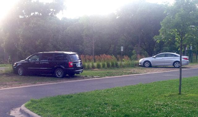 """A """"grass paving"""" parking lot at the Wabun Picnic area in Minneahaha Park."""