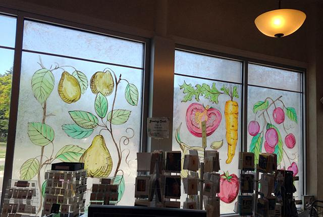Hampden Park Co-op's windows still sported vegetable drawings