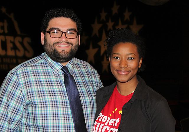 Marc Bromaghim-Oropeza with one of his current students, Fanta Diallo