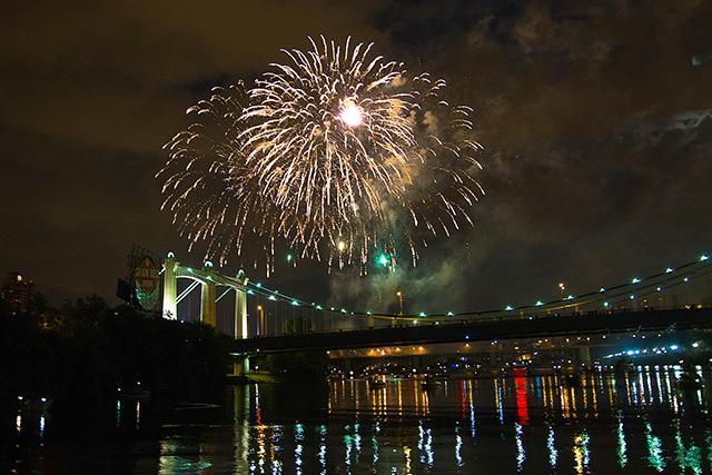 Minneapolis Parks host a riverfront fireworks celebration at dark