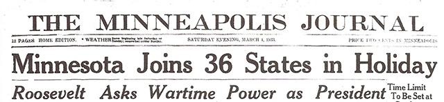 Minneapolis Journal, March 4, 1933 Saturday evening headlines