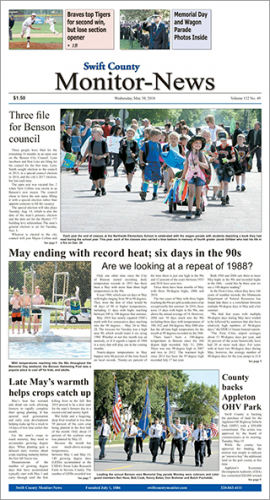 The front page of the May 30 edition of the Monitor-News