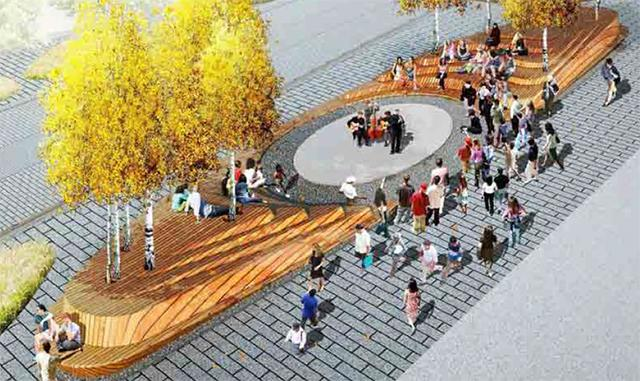 Rendering of proposed theater in the round area of Nicollet Mall.
