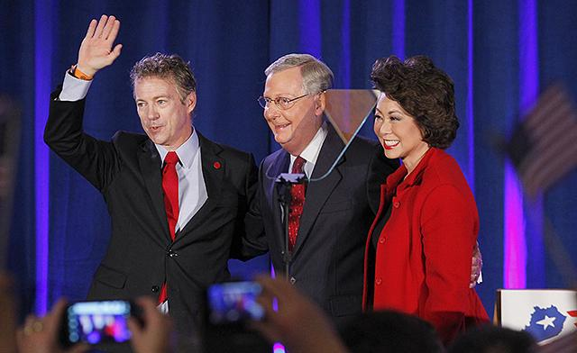 Sen. Rand Paul, Senate Minority Leader Mitch McConnell and McConnell's wife