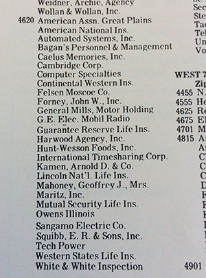 Pentagon Park tenants as listed in the Edina city directory, 1970.