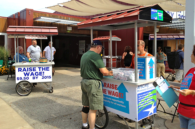 Raise The Wage information kiosks run by AFSCME Council 5