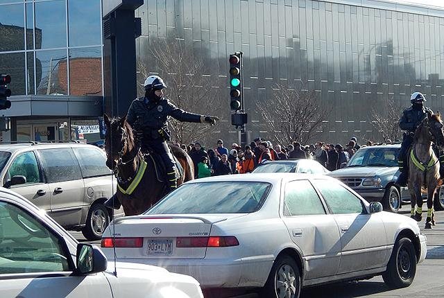St. Paul Police officers on horseback directed traffic at the intersection