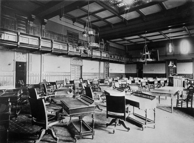 The interior of the second State Capitol building in 1885.